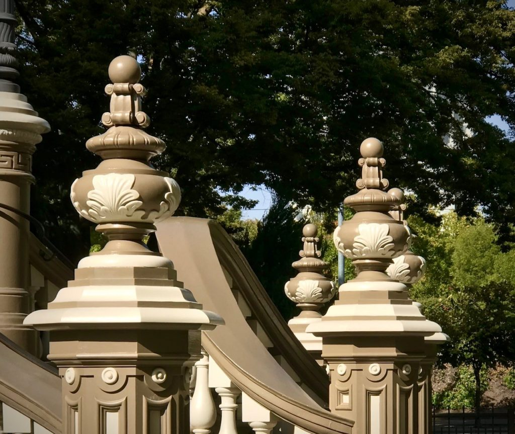Hand Carved Leland Stanford Mansion Newel Post Finials